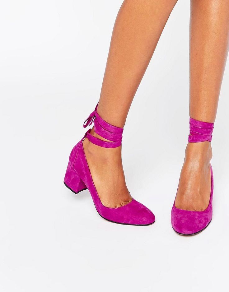 London Rebel Tie Ankle Mid Heel Shoe