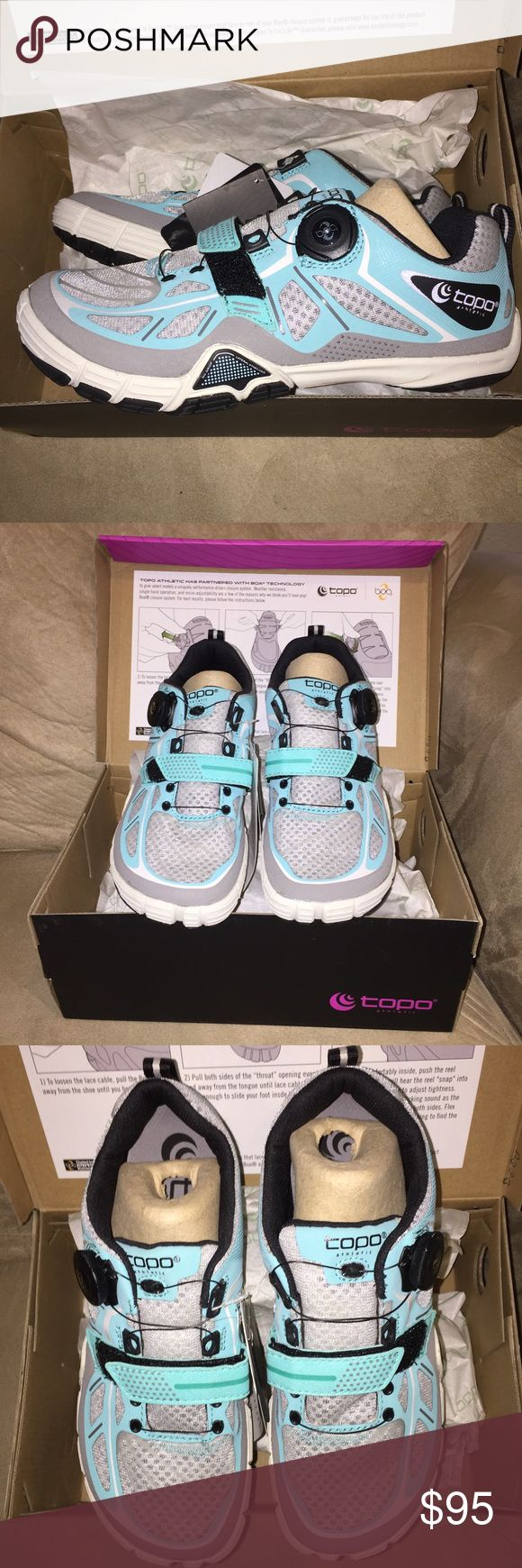 ✨TOPO ATHLETIC SANTE CROSS-TRAINING SHOES✨ NWT New In Box 📦. The manufacturer states that this shoe runs a half size larger than your regular shoe so although these are marked 7.5 I will be listing them as a 7 to insure proper fit per the manufacturer description. Gray, white, black & turquoise. Topo Athletic Shoes