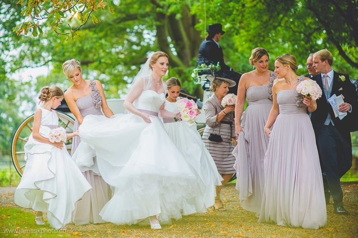 Stradsett Church, Norfolk Wedding. Bride and bridesmaids. Grey lilac bridesmaids. www.jameskphoto.co.uk