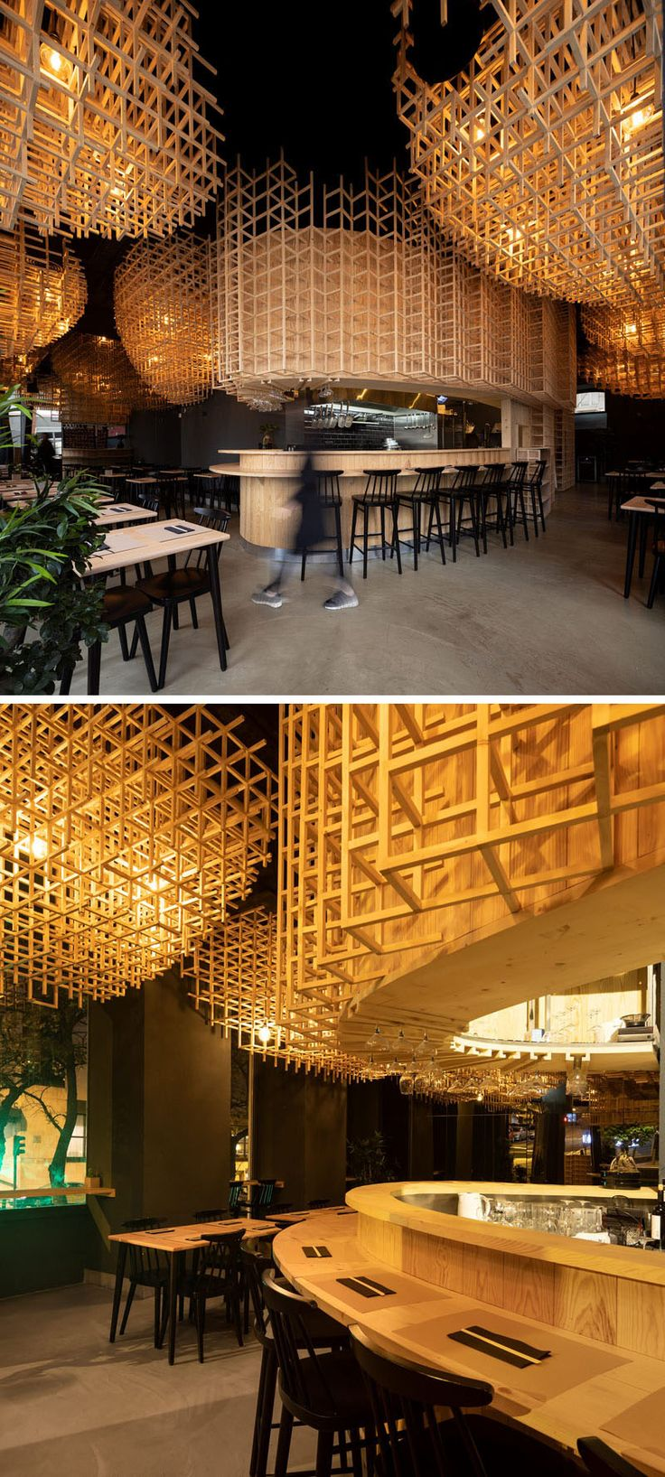 Large Sculptural Lights Create A Warm Atmosphere In This Ramen Restaurant