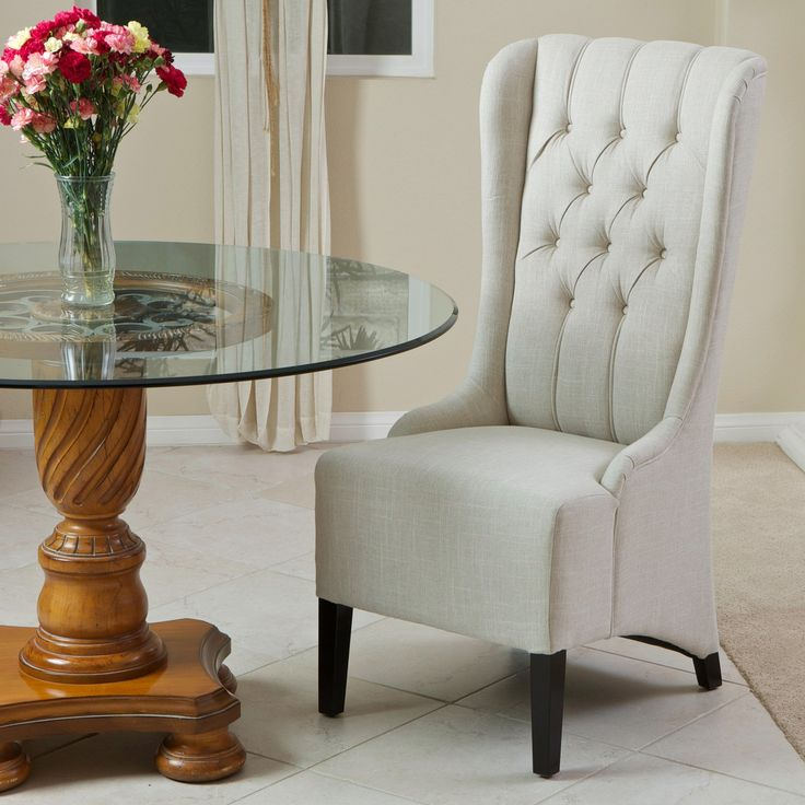 Champion Tufted Tall Back Light Beige Fabric Dining Chair   With Enough  Style Fit For Royalty