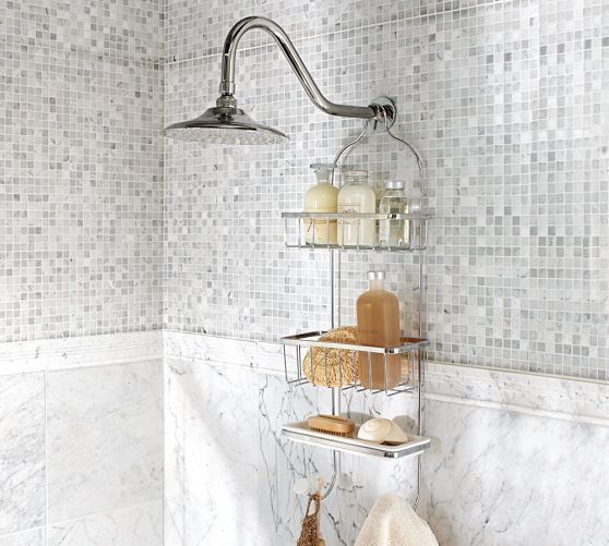 Showerhead Caddy, Polished Nickel finish - Pottery Barn - upstairs bath