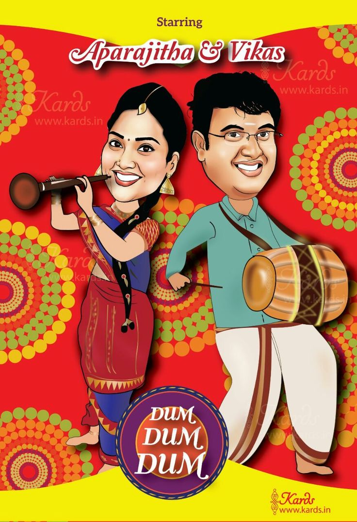 """""""Aaaha Kalyanam"""" Colorful movie poster wedding invitation is our new favorite. Getting the right colors to make the card vibrant and unique was a lot of fun ! The card turned out to exactly reflect the fun personalities of the bride and groom."""