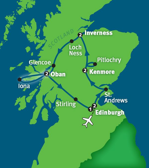 On this bonnie journey that starts and ends in royal Edinburgh, your Rick Steves guide will immerse you in the rich culture and history of Scotland. You'll walk the Royal Mile; study the fairways at St. Andrews; shake paws with a sheep dog; try a wee dram at a whisky distillery; explore the Highlands; ponder Lochs Ness, Garry and Lomond; wander over the Isle of Iona; and time-travel about the craggy castles of Edinburgh, Stirling and Urquhart. Join us for the Best of Scotland in 10 Days!