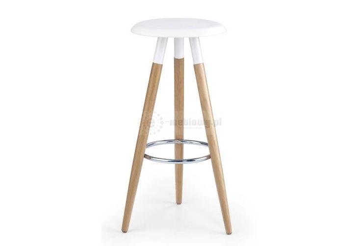 stołek, stołek barowy, hoker, nowoczesny stołek barowy, drewno, biały