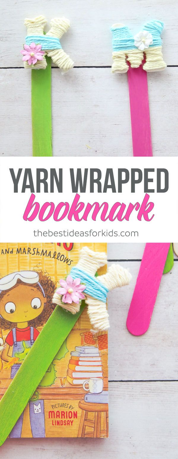 These DIY yarn wrapped letter bookmarks are the perfect craft to make! These initial yarn bookmarks are easy to do. Kids will love them!   *Yarn bookmark, yarn craft, letter bookmark, pom pom bookmark, DIY bookmark, bookmark craft, craft stick craft, popsicle stick craft, yarn wrapped letters via @bestideaskids