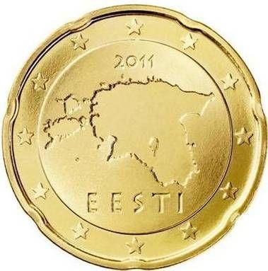 ESTONIA 20 cent: Mappa dell'Estonia con l'anno di conio al di sopra di essa e la scritta EESTI (Estonia) al di sotto. Intorno 12 stelle a cinque punte rappresentanti l'Unione Europea. Autore: Lembit Lõhmus.