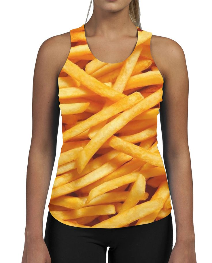 Fries WOMENS ALLOVER Gym VEST Tank Top Fitness Summer Food Fat Greedy Funny Beach Sweat Work Out by SaveThePeople2016 on Etsy