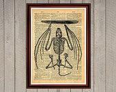 Bat skeleton print Rustic decor Cabin Vintage Retro poster Dictionary page Home interior Wall 0002