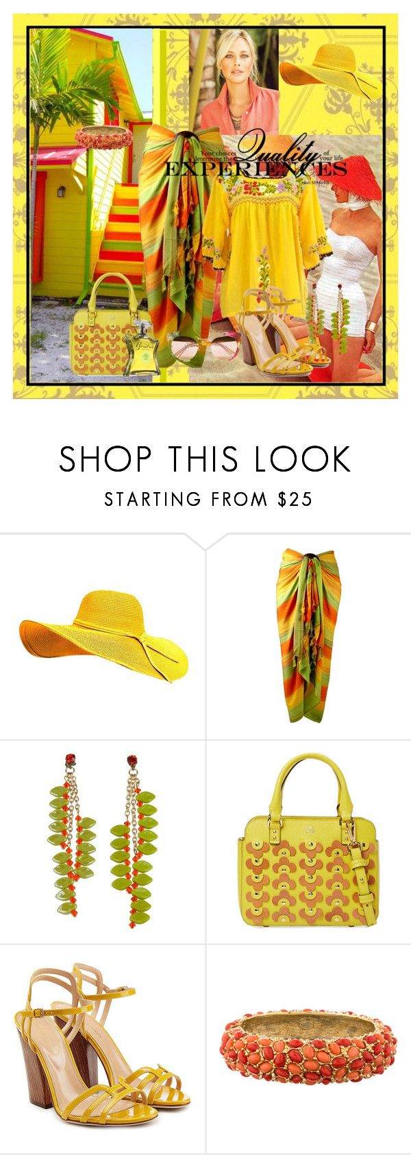 """""""Yellow Peasant Top, Tropical Colors & background"""" by franceseattle ❤ liked on Polyvore featuring Graham & Brown, James Murray, Orla Kiely, Sergio Rossi, Kenneth Jay Lane, Bond No. 9 and Gucci"""