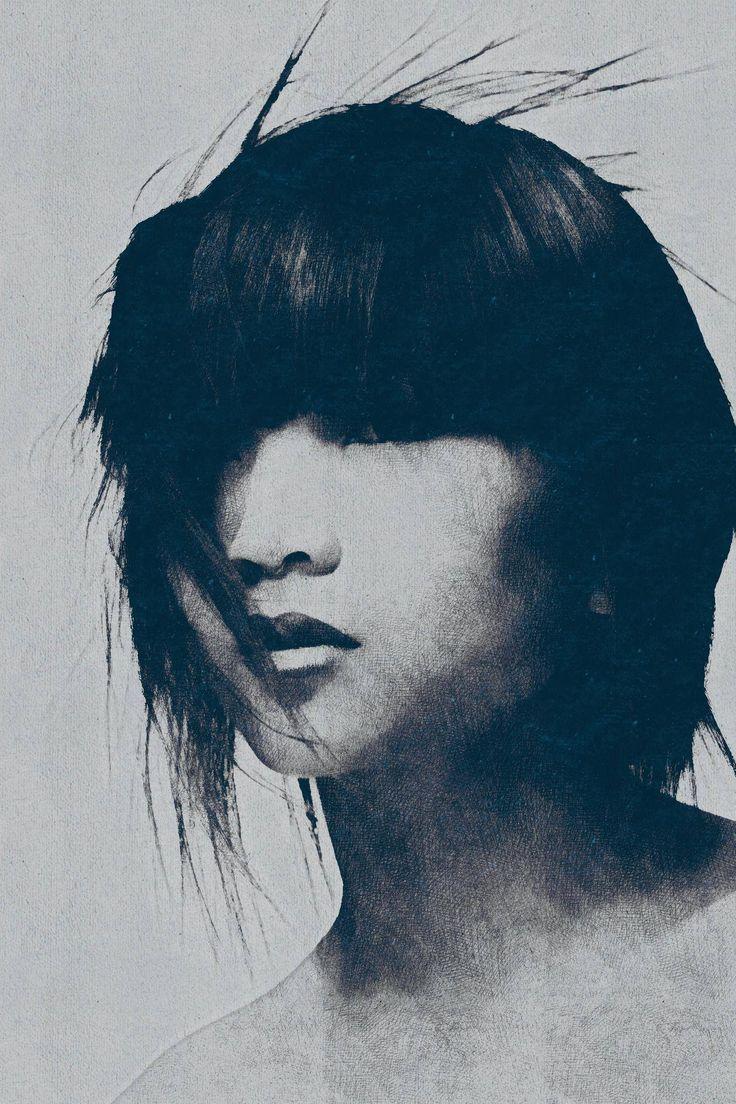 Blue ink portrait - by PhotoDonut