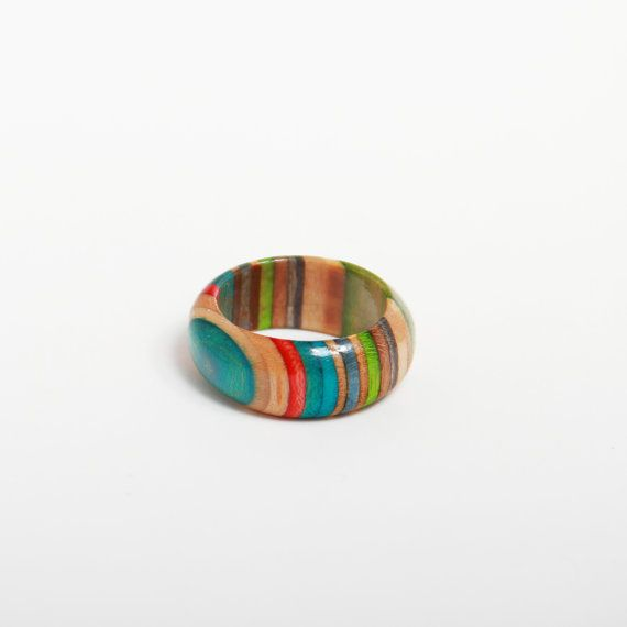 Multi Colored Wood Ring. 7.5 Made from by FocusSkateJewelry, $32.00