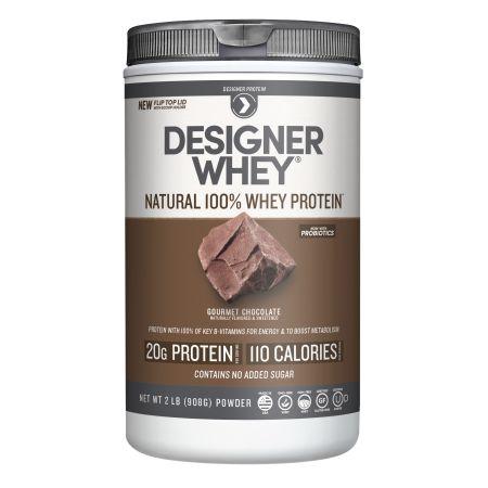 Designer Whey Premium Natural 100% Whey Protein, Gourmet Chocolate, 2lb, Brown