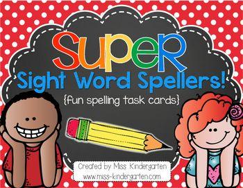 $ Super Sight Word Spellers! {fun spelling task cards} by Miss Kindergarten Love