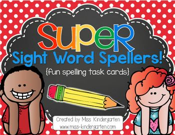 ***AWESOME ACTIVITIES WITH CUTE TASK CARDS** Super Sight Word Spellers are a fun way to get your students excited about practicing spelling their sight words or spelling words! You can set them up in your writing or word work stations, or wherever works for you! This download includes 18 student friendly spelling task cards {measuring 4x6} AND NOW INCLUDES AN EDITABLE SET OF TASK CARDS!