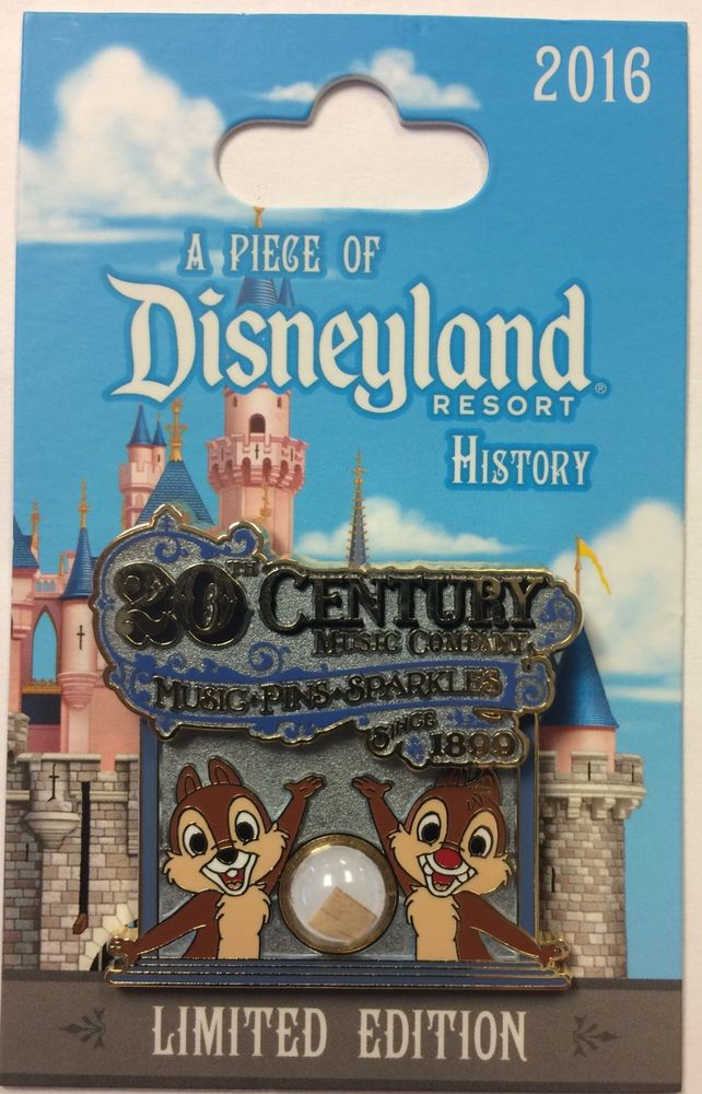 Disneyland 2016 Chip N Dale 20th Century Music Piece of Disney History LE Pin #Disney