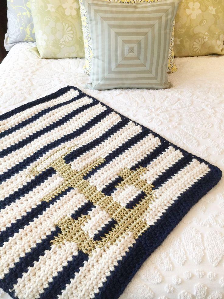 Anchor Blanket, Nautical Crochet Blanket, Modern Baby Blanket, Crochet Anchor Blanket, Navy and White Stripe Blanket, Crochet Baby Blanket by CashmereCollectiveCo on Etsy