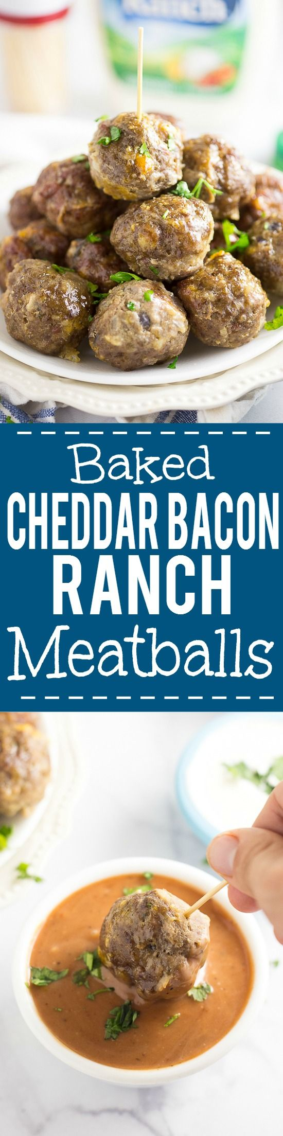 Baked Cheddar Bacon Ranch Meatballs Recipe -These tangy, zesty Baked Cheddar Bacon Ranch Meatballs have a to-die-for flavor combo and are baked in the oven for a delicious, quick and easy appetizer recipe. #FreshHolidayTips AD @walmart @gladproducts @hvranch
