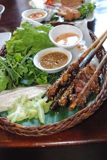 Some lemongrass pork skewers we found in Hoi An, Vietnam.