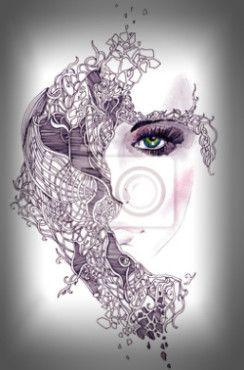 Fotobehang human, woman, painting - abstracte vrouw gezicht ✓ Makkelijke montage ✓ 100% ecologisch afgedrukt ✓ Bekijk de opinies van onze klanten!