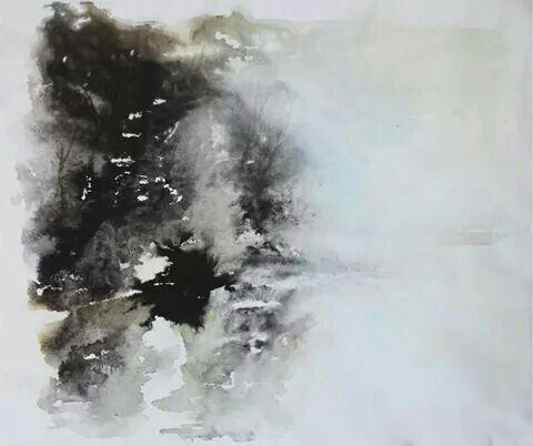 Da oriente a occidente-ink on canvas-46x55 cm