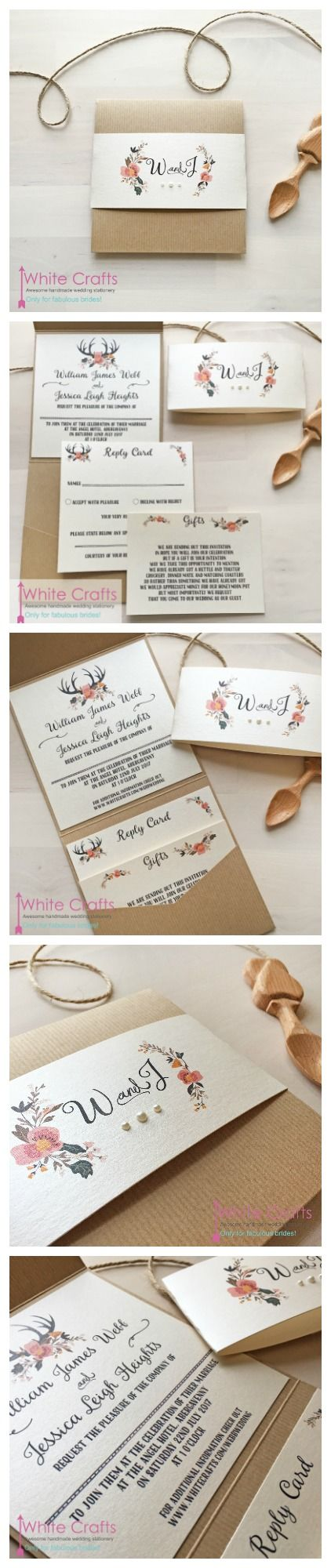 Floral antler pocket winter rustic country natural wedding invitations. peach pink coral blush flower wedding invites. www.whitecrafts.com #antlerwedding #winterwedding #floralweddinginvites #antlerweddinginvitations #winterweddinginvitations #floralantlers #weddinginvitationideas #winterweddinginvitationideas