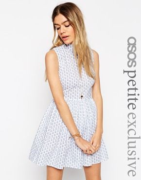 ASOS PETITE Ditsy Floral Shift Dress with High Neck and Button Back