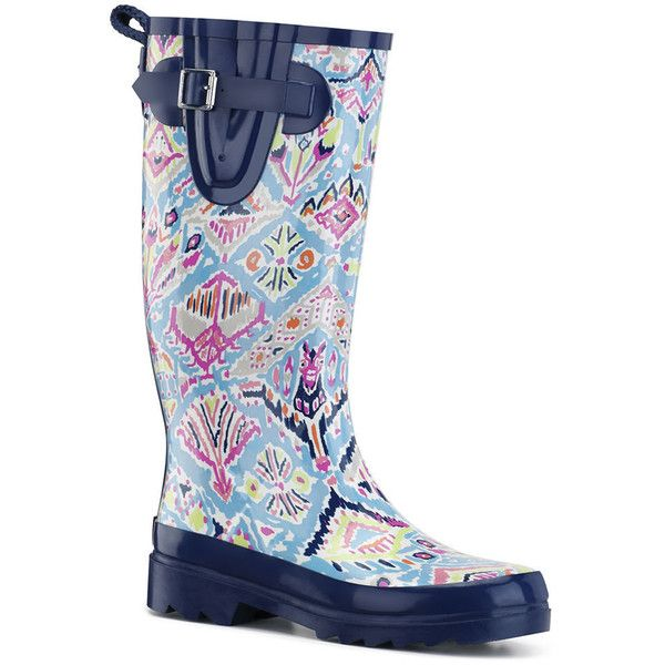 Sakroots Rhythm Rainboot Women's Green,Blue Boot 9 M ($50) ❤ liked on Polyvore featuring shoes, boots, blue boots, short heel boots, blue rain boots, print rain boots and slip on boots