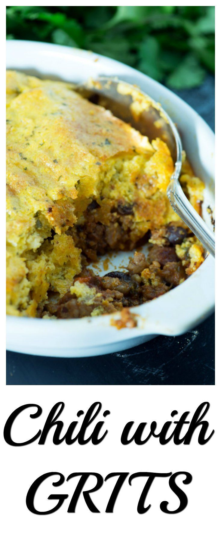 Change things up a bit and try chili topped with cheesy grits. A great Southern twist on Shepards pie.
