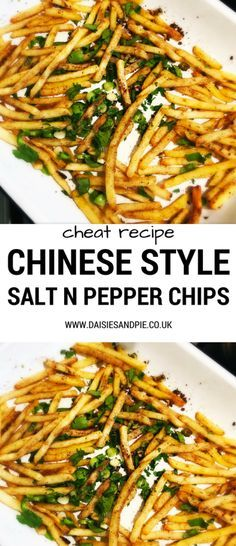 Homemade Chinese style salt and pepper chips, how to flavour up fries, easy family food from daisies and pie