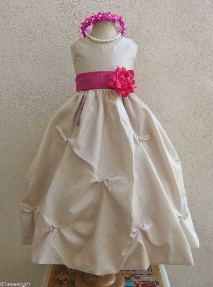 CHAMPAGNE FUCHSIA PINK  GOWN FLOWER GIRL DRESS SIZE 2T/2 3 4 5 6X 6 7 8 10 12 14 #Dress