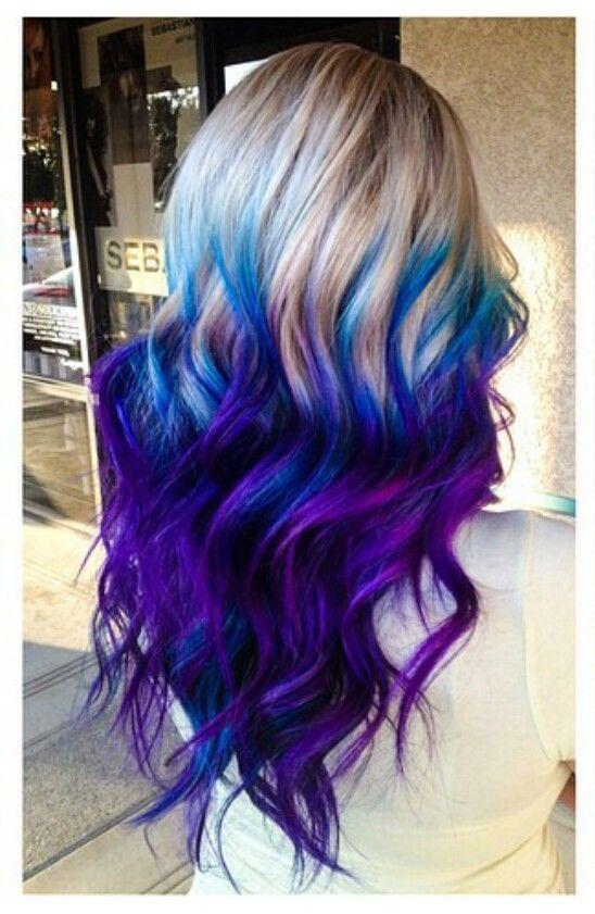 Purple blue ombre dyed hair...