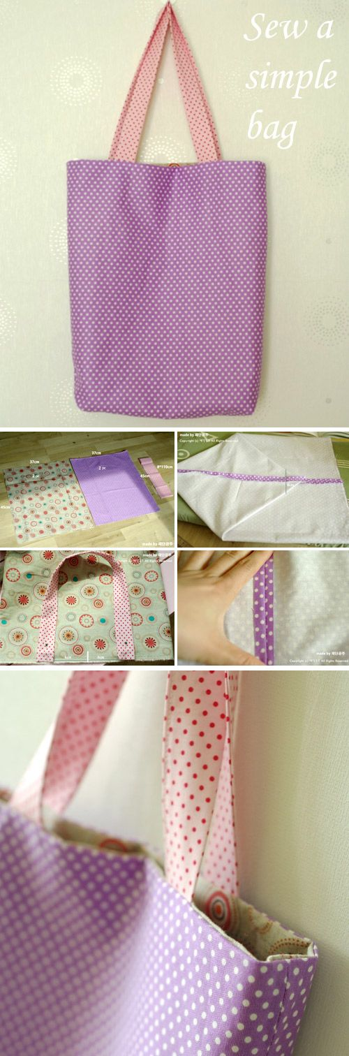 How to Make a Bag in One Hour. Sewing Photo Tutorial.   http://www.free-tutorial.net/2016/12/simple-tote-bag.html