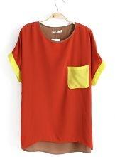 Red Short Sleeve Pocket Dipped Hem Chiffon T-Shirt $22.95