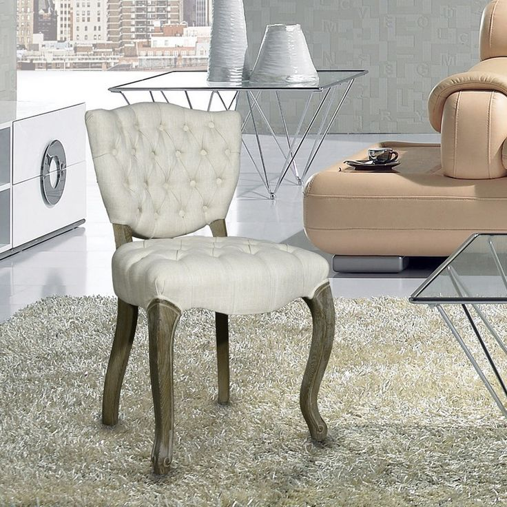Dining Chair Trends For 2016: European Style Upholstered Tufted Linen Side / Dining