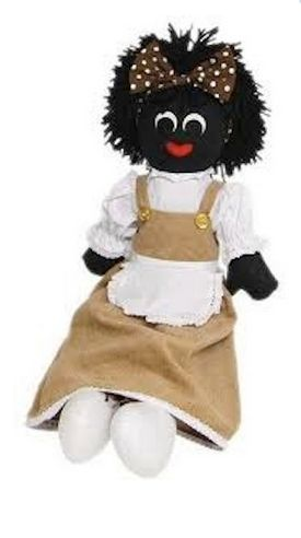 Gorgeous Bessie the golliwog Perfect addition to any little girl's collection! Brown corduroy dress with white apron and under blouse. Brown spotted headband in her hair. Clothes are removable for ease of washing. Stands 30cm tall – not including hair!