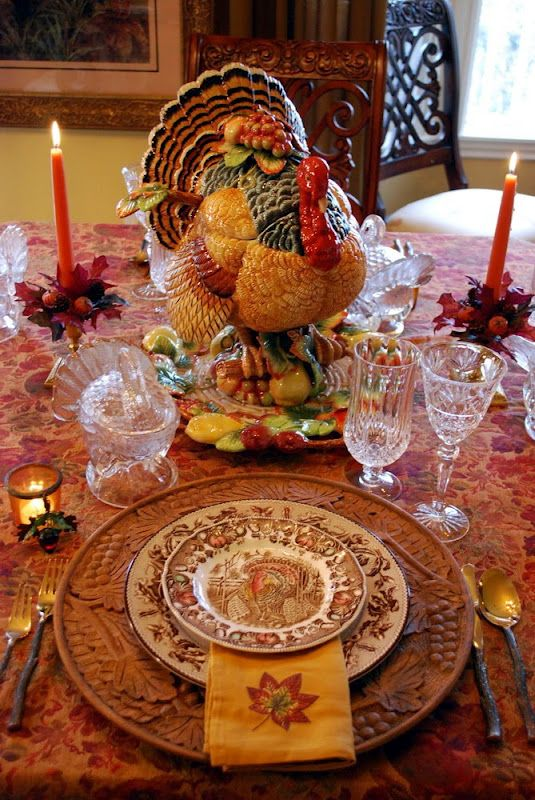 "I LOVE the detail she put into this! The plate pattern is Johnson Bros. ""His Majesty."" I especially love the small turkey tureens and the chargers; combine those with the linens, flatware, and the crystal everything just pops!"