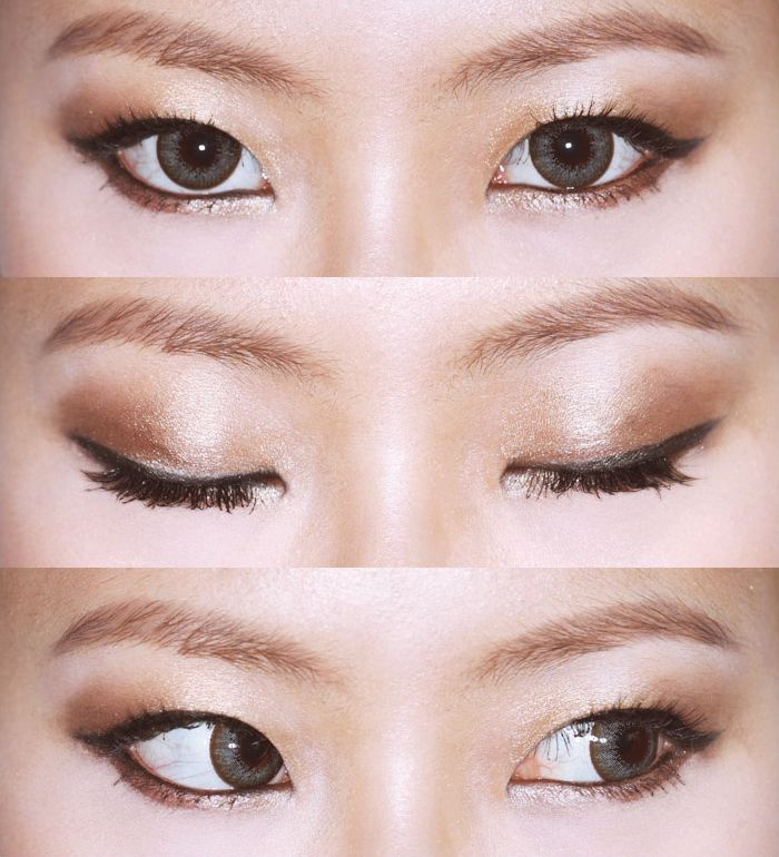 Eyeliner for mono eyelid. Eyeliner gets thicker as goes out with a small wing. This opens up the eye