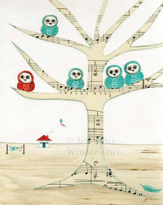 owl nursery print whimsical owl painting owls by winterowls 2500