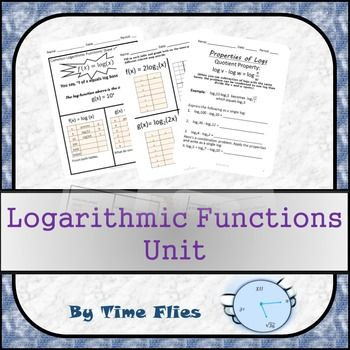 This is a Logarithmic Functions Unit. There are 25 pages of work, notes and writing for the student to do with answer keys and a rubric for the writing piece. There is a 15 question assessment with answer key after the work pages. This unit covers:*Converting between exponential and log form*Natural logs*Common logs*Transformations*Properties of logs*Solving log equations algebraically and graphically*Using log formulas in real-life situationsThank you for downloading this product!
