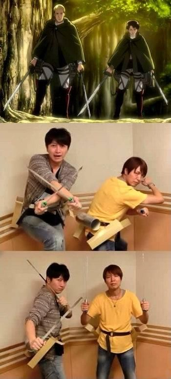 DAISUKE ONO AND HIROSHI KAMIYA ACTING OUT ERWIN AND LEVI THIS IS SO PRECIOUS ;;A;;