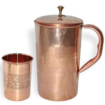 DakshCraft Drinkware Mughlai Jug With 1 Tumbler Copper Steel For Ayurveda Benefits