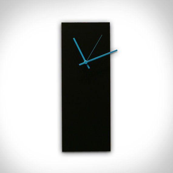 25% OFF! Modern Wall Clock 'Blackout Blue Clock'-6x16-Midcentury Wall Clock Black Metal Unique Wall Clocks w/ Blue Hands