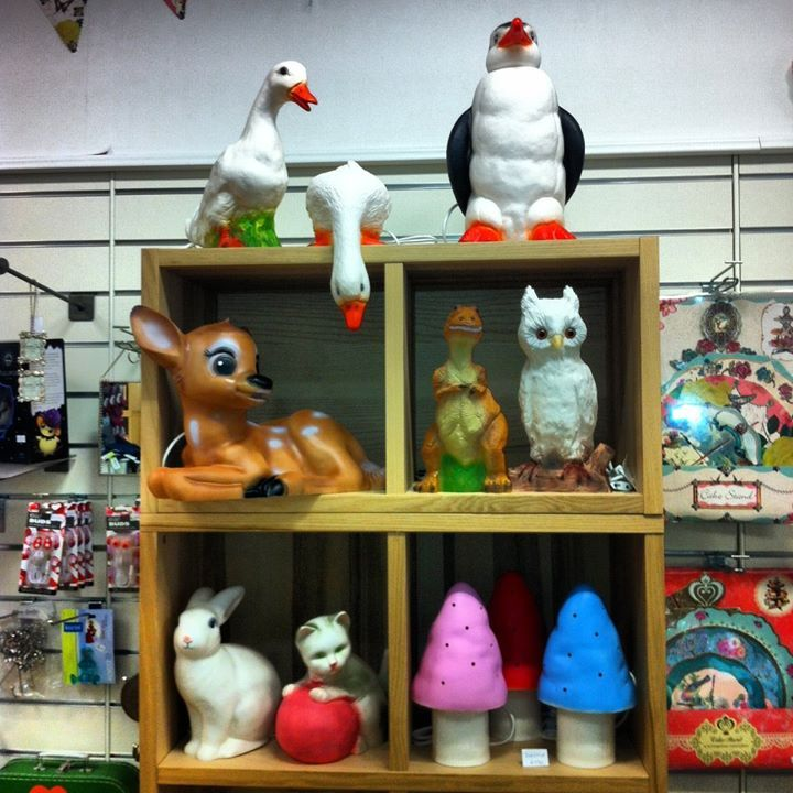 www.snudar.is Reykjavík, Iceland boutique, shop interior display, Heico Lamps, Egmont Rabbit and Mushroom, Bambi, Owl and Geese.