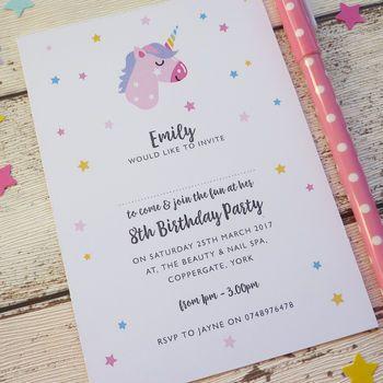 Unicorn Personalised Party Invitations