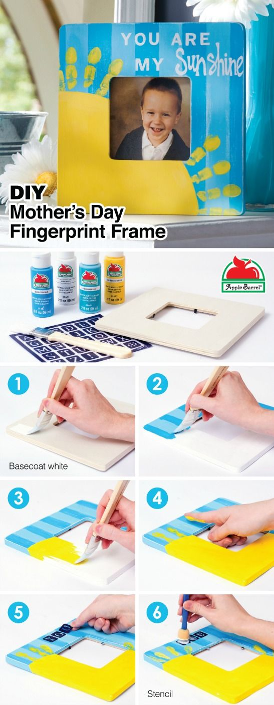 """The most adorable fingerprint DIY gift idea! Make this easy """"You Are My Sunshine"""" photo frame for Mother's Day, or it's a perfect handmade present for Mom, Dad or grandparents with Apple Barrel paint. Find all the supplies at @walmart #plaidcrafts"""