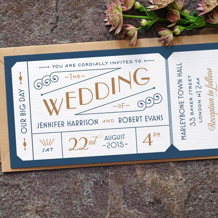 Formal Admission Ticket Wedding Invitation / 'Just the Ticket' Art Deco 1920s Wedding Invite / Navy Blue Gold / Custom Colours / ONE SAMPLE by twoforjoypaper on Etsy https://www.etsy.com/listing/221844438/formal-admission-ticket-wedding