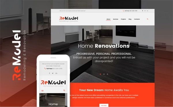 Remodel - Renovation & Interior Design WordPress Theme Remodeling WordPress Theme was exclusively created for remodeling, renovation architecture and interior design sites. Website slider provides for an intuitive navigation and capturing the attention, animated presentation on your site will take visitors breath away. Flashy call-to-action buttons will twice up the conversion rate and increase the profitability of your site. Thanks to clean and minimalist design, this template will help you…