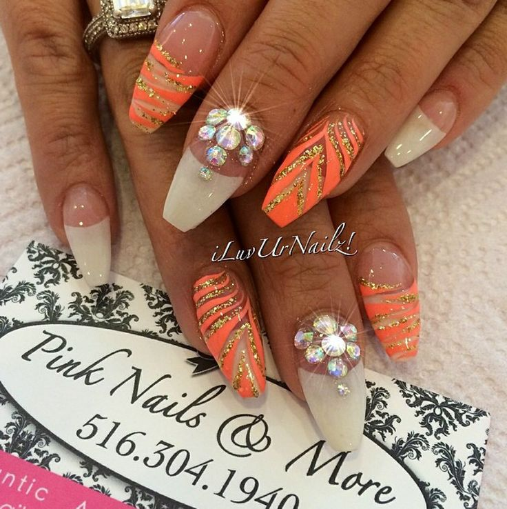 144 best nails images on pinterest coffin nails nail designs gold orange and white tiger stripe with bling prinsesfo Image collections