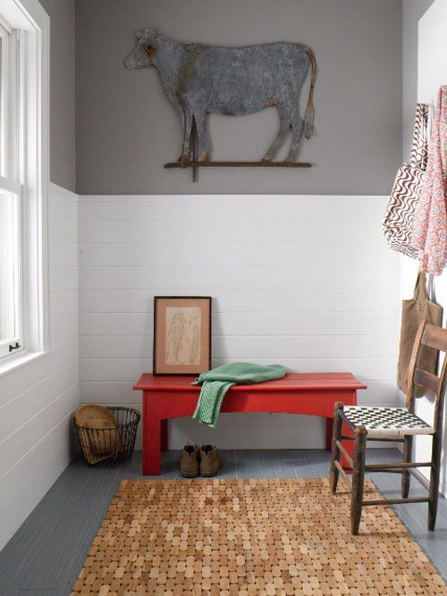 Loving the white tile halfway up the wall in this mud room - genius idea and easy to clean.  Also like the gray paint color.